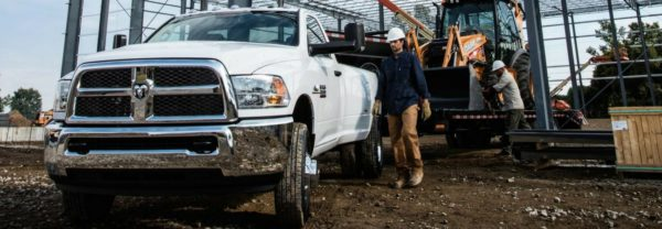 A RAM truck on a worksite