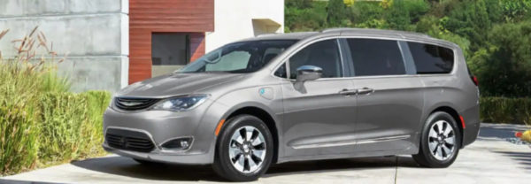 Silver 2019 Chrysler Pacifica parked in driveway